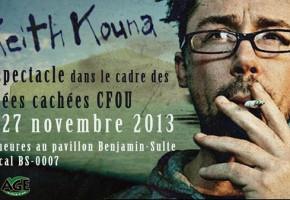 Soirées cachées CFOU : Keith Kouna en spectacle ce soir à l'UQTR