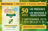Prévente – Spectacle «50 ans de présence» le 7 septembre 2019