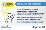Emplois étudiants disponibles: contribuez à l'effort de vaccination