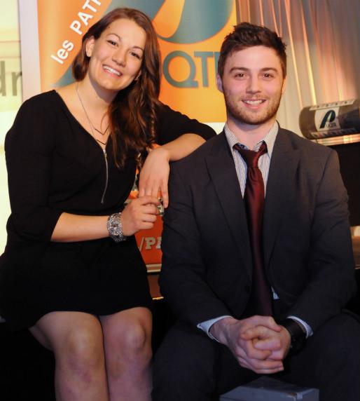 Gabrielle Lambert (soccer) et Billy Lacasse (hockey), athlètes de l'année chez les Patriotes de l'UQTR. (Photo Flageol)